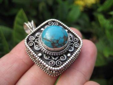 925 Silver Turquoise Compartment Locket Pendant Necklace Nepal Jewelry Art A8