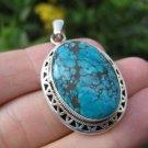 925 Silver Tibetan Turquoise stone pendant necklace Nepal Himalayan art B4