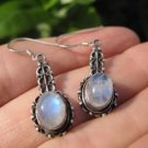 925 Silver Moonstone pair Earrings Earring jewelry Nepal himalayan art