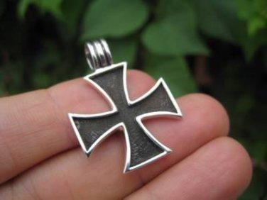 925 Silver  Knight Knights Cross Iron Cross  Templar pendant  Necklace A2