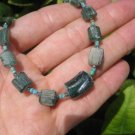 925 Silver Roman Glass Green old Antique Bead Necklace 1200 yrs A8