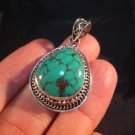 925 Silver Tibetan Turquoise stone crystal Pendant Necklace Nepal Jewelry Art B4