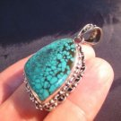 925 Silver Tibetan Turquoise stone crystal Pendant Necklace Nepal Jewelry Art B3