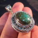 925 Silver Turquoise Compartment Locket Pendant Necklace Nepal Jewelry Art A7