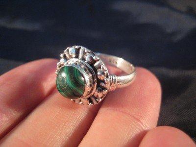 925 Silver Malachite stone Ring  jewelry Nepal Size 8 US  Q GB