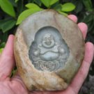 Happy Buddha Shakyamuni Jade stone Carving Art Chinese plum A6