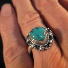 925 Silver Tibetan Turquoise stone Ring  jewelry art Nepal Size 7.5 US    P