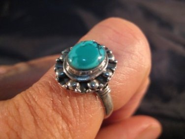 925 Silver Tibetan Turquoise stone Ring  jewelry art Nepal Size 9.25 US