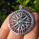 925 Silver compass pendant necklace Thailand jewelry art