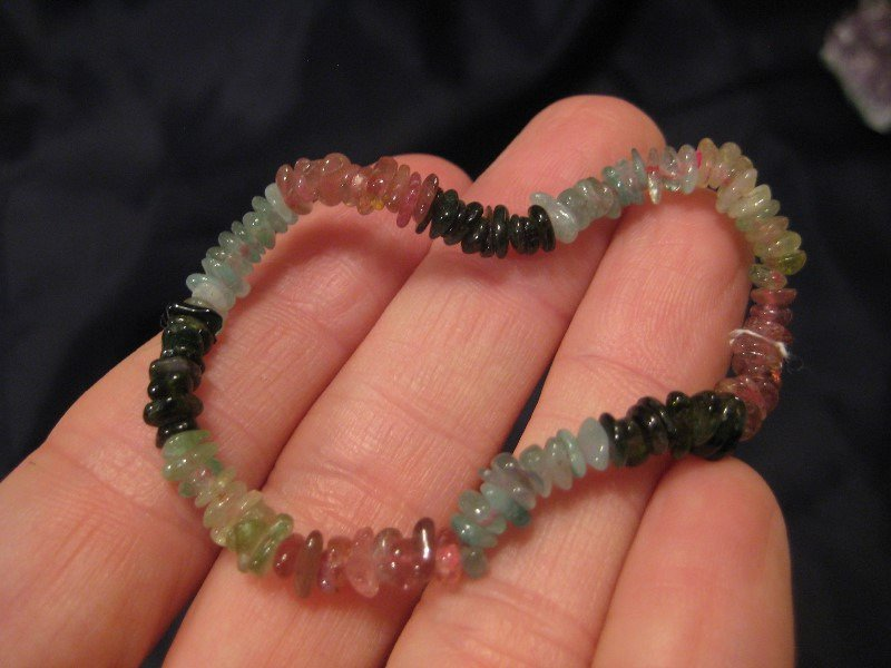 Natural Tourmaline bead stone bracelet Thailand jewelry art A7
