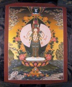 24 K Gold Avalokitesvara Deity Thangka Thanka Painting Nepal Himalayan Art A2