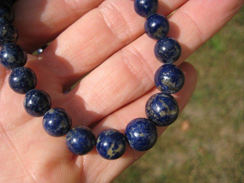 Natural Lapis Lazul Lazuli stone bead necklace jewlelry art A14