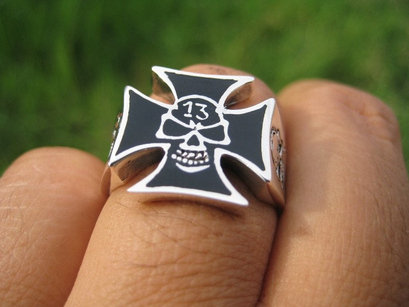 925 Silver skull ring lucky number 13 thirteen jewelry art Thailand A4