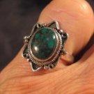 925 Silver Tibetan Turquoise crystal stone Ring Nepal jewelry art Size 6.5