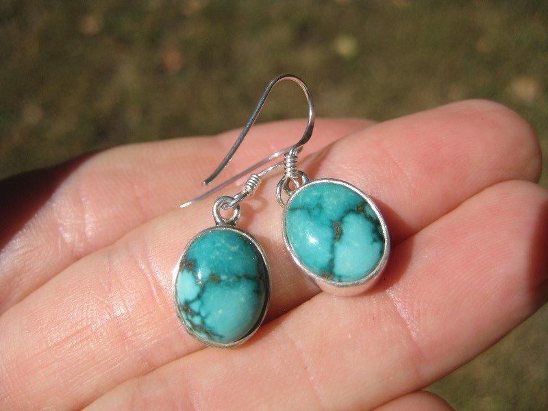 925 Silver Tibetan Turquoise earrings earring jewelry art A18