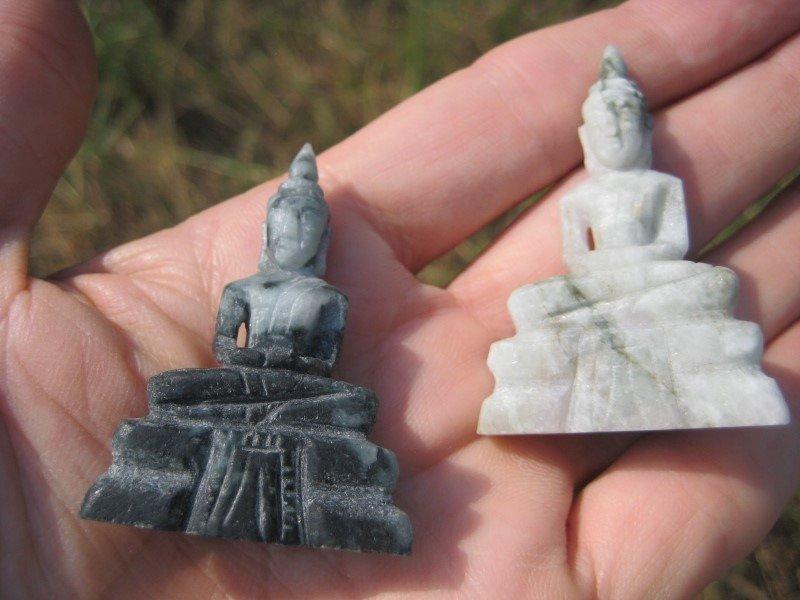 Set 2 Natural jade stone Buddha statues Thailand Mineral art A10