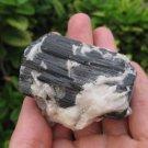 Natural black Tourmaline Quartz stone mineral crystal specimen Afghanistan