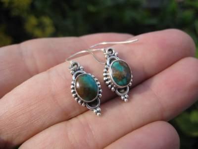 925 Silver Tibetan Turquoise Earrings Earring jewelry Nepal himalayan art A3