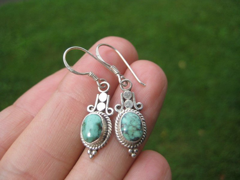 925 silver natural Tibetan stone turquoise earrings earring Nepal jewelry A15