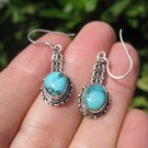 925 Silver Tibetan Turquoise Earrings Earring jewelry Nepal himalayan art A3