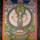 24 K Gold Avalokitesvara Deity Thangka Thanka Painting Nepal Himalayan Art A3