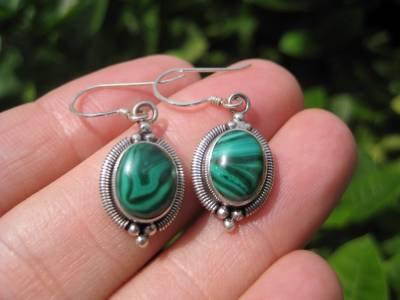 925 Silver Malachite pair Earrings Earring jewelry Nepal himalayan art A5