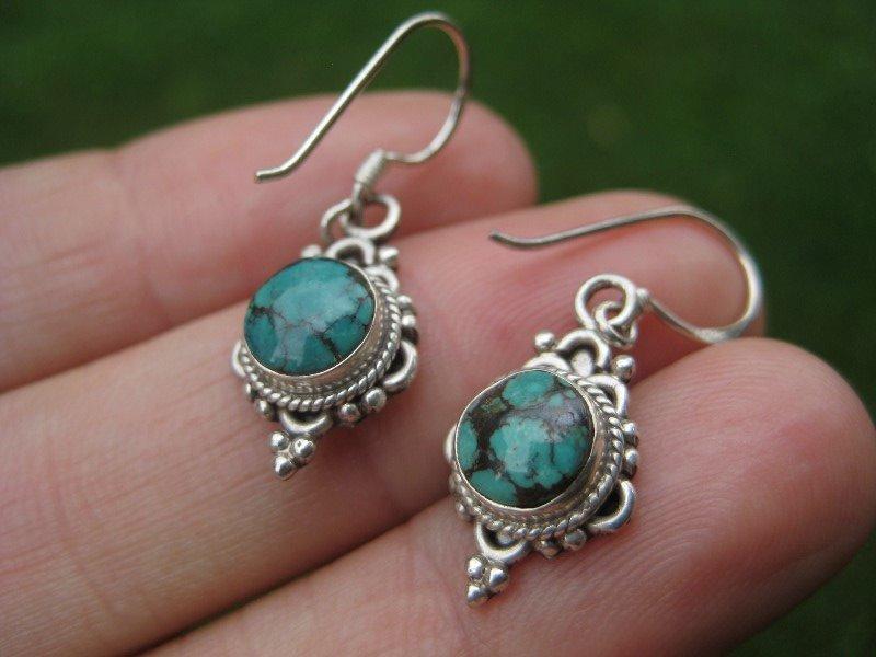 925 Silver Tibetan Turquoise earrings earring jewelry art A10