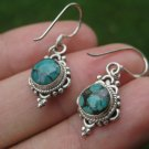 925 Silver Tibetan Turquoise earrings earring jewelry art A10