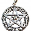 925 sterling silver wicca pentagram pendant necklace A44