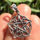925 sterling silver wicca pentagram pendant necklace A32