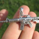 925 Sterling Silver Machine Gun M-16 AK-47 Pendant Necklace A12