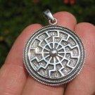 925 Sterling Silver Black Sun Wheel Viking Norse Sonnenrad Germanic pendant A5