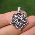 925 sterling silver wicca inverted pentagram pendant necklace A40