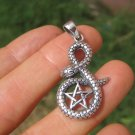 925 Sterling Silver Snake Pentagram Pendant Necklace Wicca Magic A45