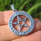 925 Sterling Silver Wicca Pentagram Pendant Necklace A25