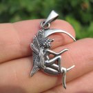 925 sterling silver fairy on moon pendant necklace A2