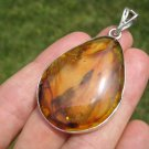 Large 925 Silver Natural Chiapas  Amber Pendant Necklace Taxco Mexico A15