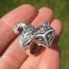 925 Silver cat Kitty raccoon ring Jewelry Art  Taxco Mexico
