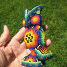 Huichol Bead Indian Owl Bird Statue Art Hand Made Mexico A14