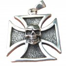925 Silver Skull Knight Knights Cross Iron Cross Templar pendant necklace A14