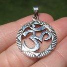 925 Silver Ohm Spiritual Symbol Pendant Necklace Buddhist Jewelry Art A13
