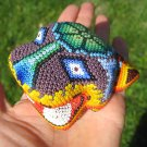 Huichol Bead Indian Cougar Lion Leopard Statue Art Hand Made Mexico A9