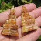 Set 2 Natural Petrified wood Shakyamuni Buddha statue Thailand  art  A23