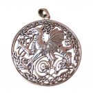 925 Sterling Silver Celtic Dragon Pendant Necklace Wicca Magic A46