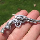 925 Fancy Silver Gun Revolver Pendant Pentacle necklace jewelry Art A20