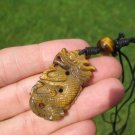 Natural had carved Tiger's Tiger eye Dragon Pendant necklace Thailand A