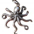 925 Silver Octopus Ocean Marine Life Pendant  Necklace