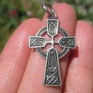 925 Silver Celtic Christian Irish English Knot Circle Cross Pendant A14