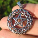 925 Sterling Silver Wicca Pentagram Pendant Necklace A28