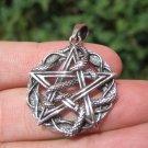 925 Silver Snake Pentagram Pendant Pentacle necklace jewelry Art A22